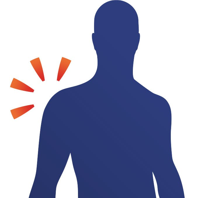 Diagram of man with shoulder pain