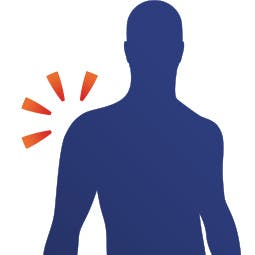 Diagramme d'un homme souffrant de douleur à l'épaule