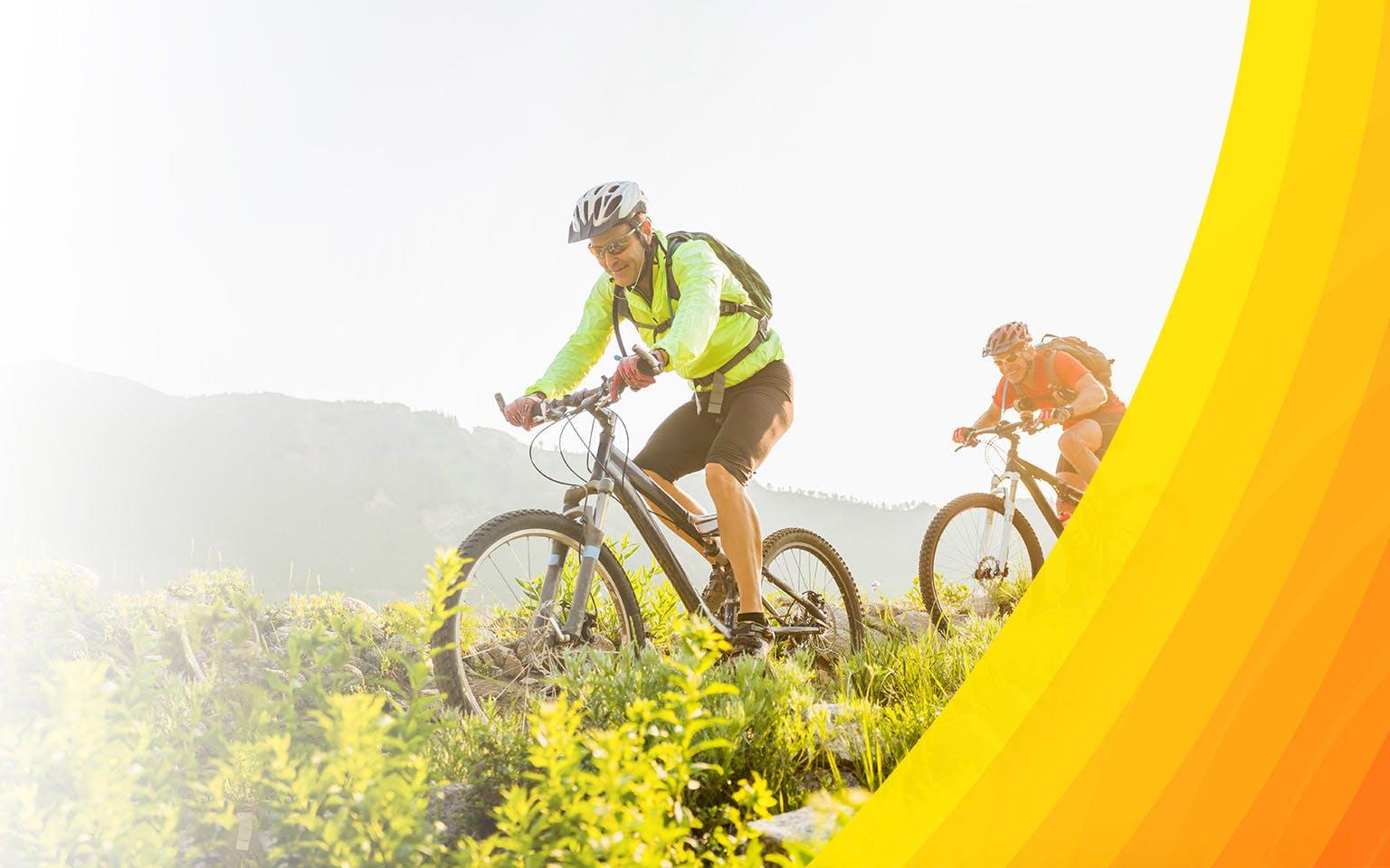 Seniors mountain biking
