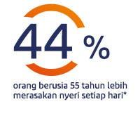 44% orang berusia 55 tahun lebih merasakan nyeri setiap hari