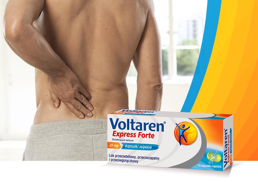 Mężczyzna łapiący się za bolące plecy i Voltaren Express Forte