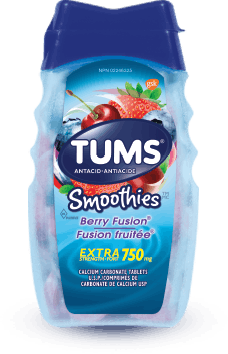 TUMS Smoothies, fusion fruitée, flacon de 60 comprimés