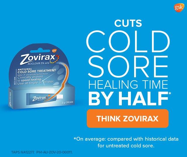 Zovirax cold sore cream square banner