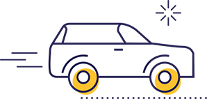 Car driving to work icon