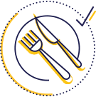 Fork and knife on plate icon
